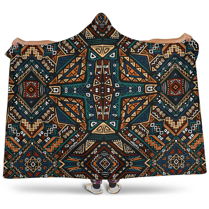 Boho Tribal Aztec Pattern Print Hooded Blanket GearFrost