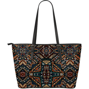 Boho Tribal Aztec Pattern Print Leather Tote Bag GearFrost