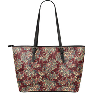 Brick Floral Bohemian Pattern Print Leather Tote Bag GearFrost