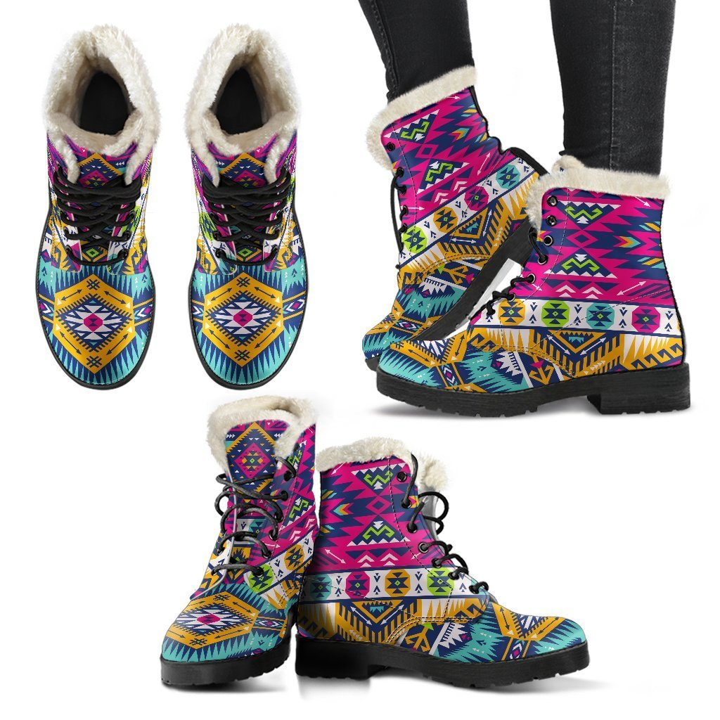 6f4ade71f Bright Colors Aztec Pattern Print Comfy Boots – GearFrost
