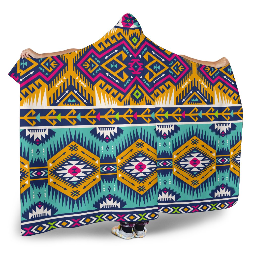 260f22d6d Bright Colors Aztec Pattern Print Hooded Blanket – GearFrost