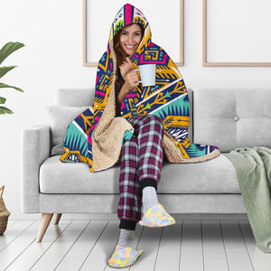 Bright Colors Aztec Pattern Print Hooded Blanket GearFrost