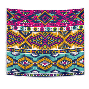 Bright Colors Aztec Pattern Print Wall Tapestry GearFrost