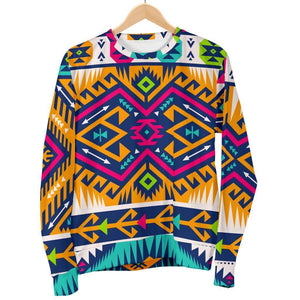 Bright Colors Aztec Pattern Print Women's Crewneck Sweatshirt GearFrost