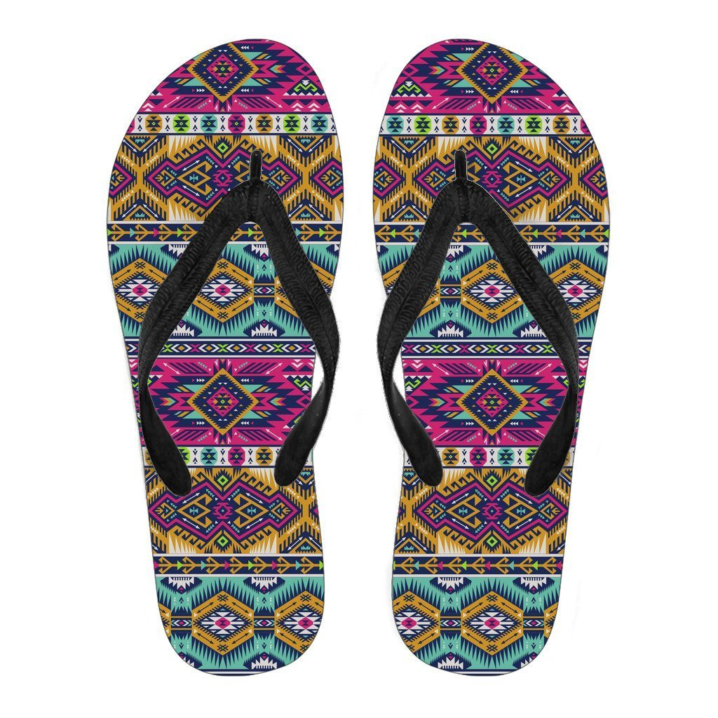 bdecaf751 Bright Colors Aztec Pattern Print Women s Flip Flops. Product image 1 ...