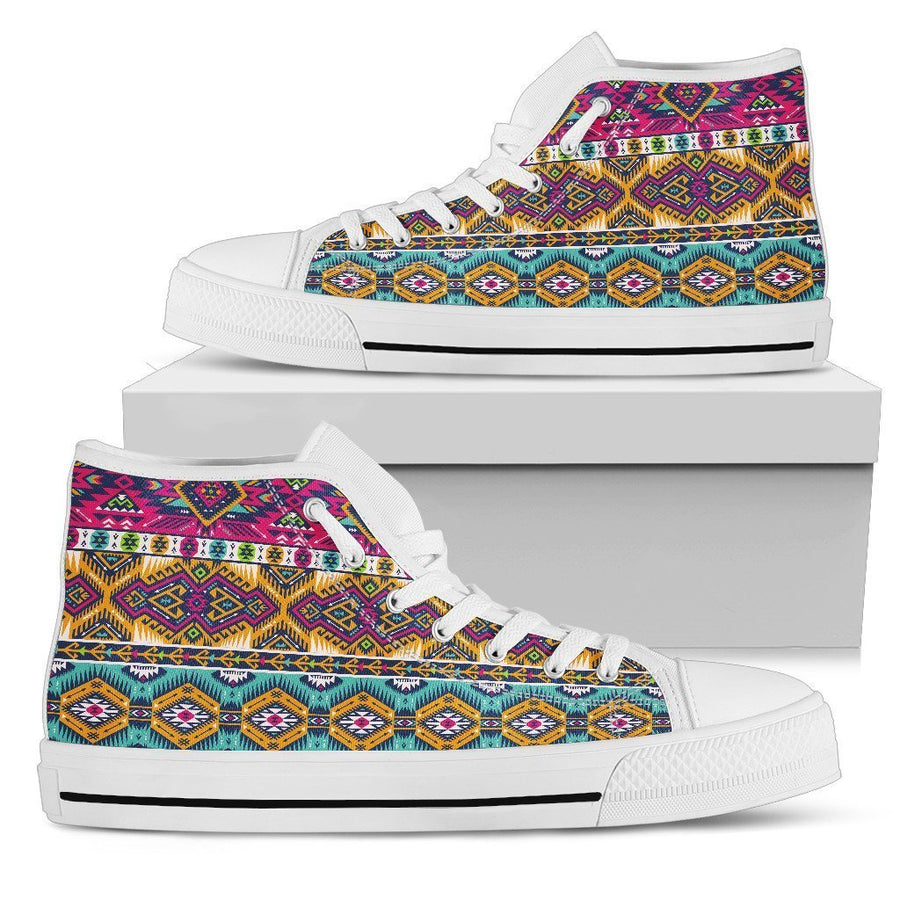 Bright Colors Aztec Pattern Print Women's High Top Shoes GearFrost