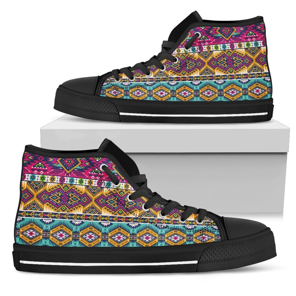 93c22f9d7 Bright Colors Aztec Pattern Print Women s High Top Shoes – GearFrost