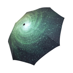 Bright Green Spiral Galaxy Space Print Automatic Foldable Umbrella GearFrost