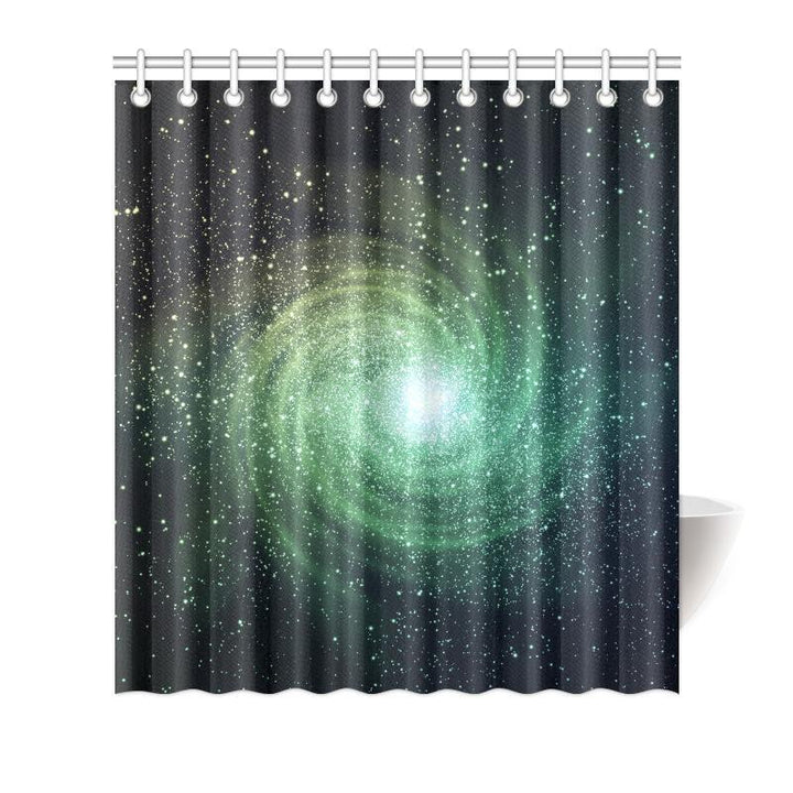 Bright Green Spiral Galaxy Space Print Bathroom Shower Curtain GearFrost