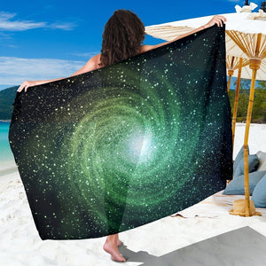 Bright Green Spiral Galaxy Space Print Beach Sarong Wrap GearFrost