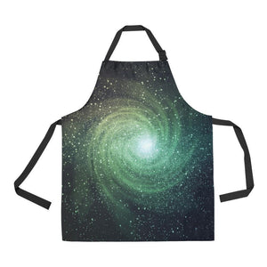 Bright Green Spiral Galaxy Space Print Bib Apron With Pockets GearFrost