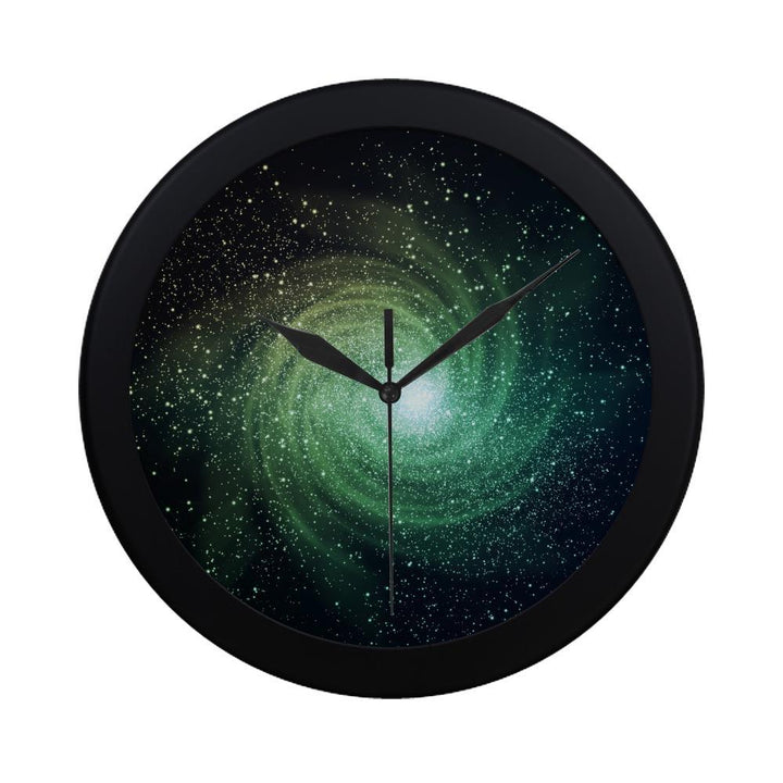 Bright Green Spiral Galaxy Space Print Black Wall Clock GearFrost