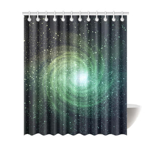 Bright Green Spiral Galaxy Space Print Extra Long Shower Curtain GearFrost