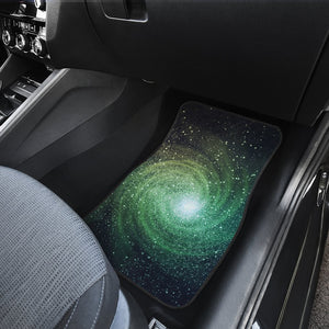 Bright Green Spiral Galaxy Space Print Front and Back Car Floor Mats GearFrost