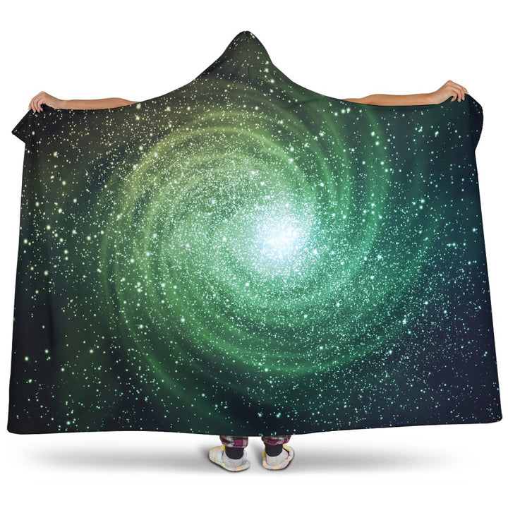 Bright Green Spiral Galaxy Space Print Hooded Blanket GearFrost