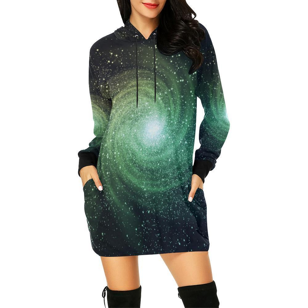 Bright Green Spiral Galaxy Space Print Hoodie Dress GearFrost
