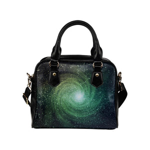 Bright Green Spiral Galaxy Space Print Leather Shoulder Handbag GearFrost