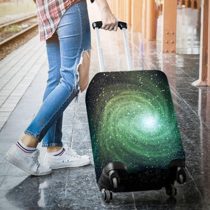 Bright Green Spiral Galaxy Space Print Luggage Cover GearFrost