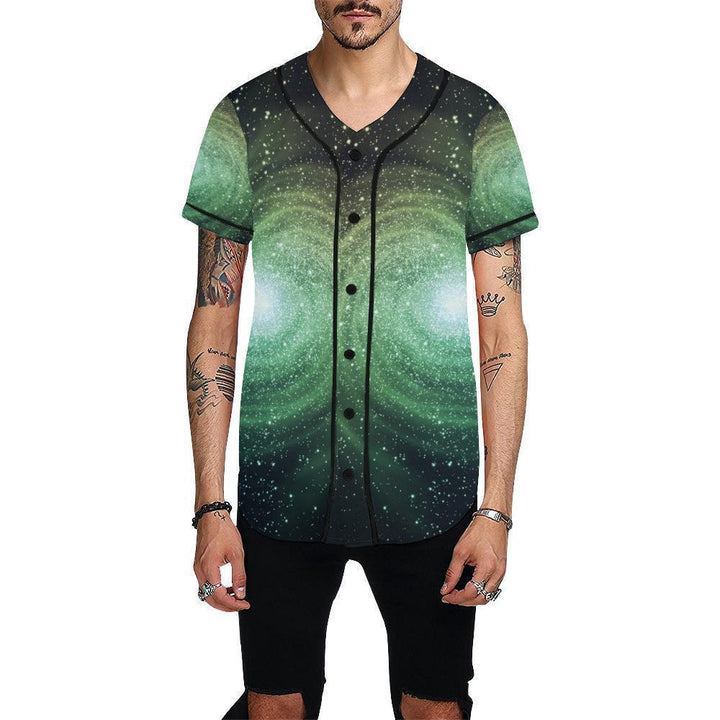 Bright Green Spiral Galaxy Space Print Men's Baseball Jersey GearFrost