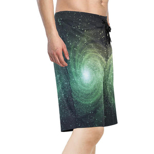 Bright Green Spiral Galaxy Space Print Men's Board Shorts GearFrost