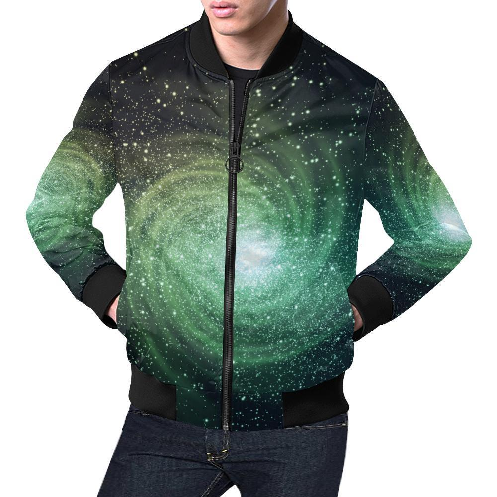 6d658001e Bright Green Spiral Galaxy Space Print Men's Bomber Jacket – GearFrost