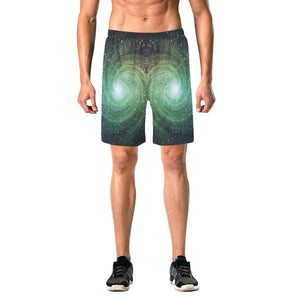 Bright Green Spiral Galaxy Space Print Men's Elastic Board Shorts GearFrost