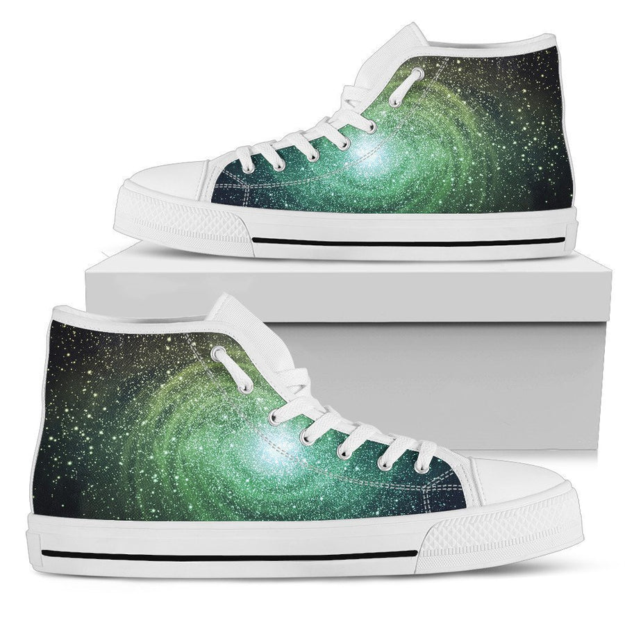 Bright Green Spiral Galaxy Space Print Men's High Top Shoes GearFrost