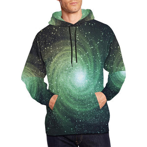 Bright Green Spiral Galaxy Space Print Men's Pullover Hoodie GearFrost