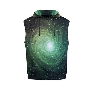 Bright Green Spiral Galaxy Space Print Men's Sleeveless Hoodie GearFrost