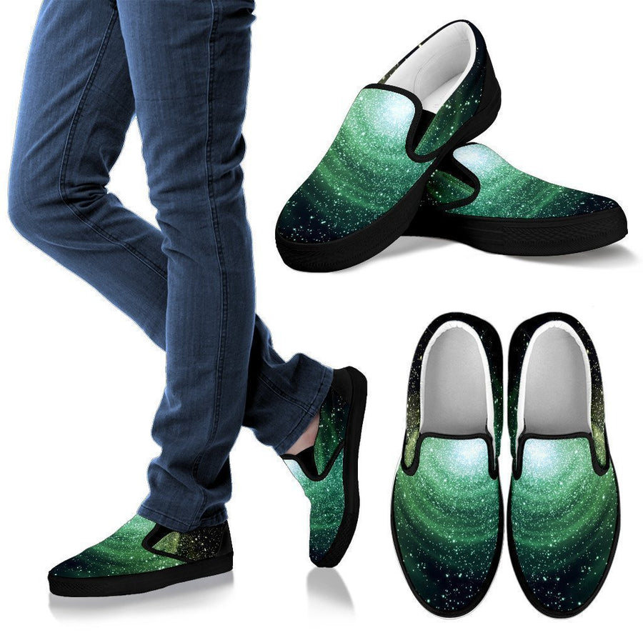Bright Green Spiral Galaxy Space Print Men's Slip On Shoes GearFrost