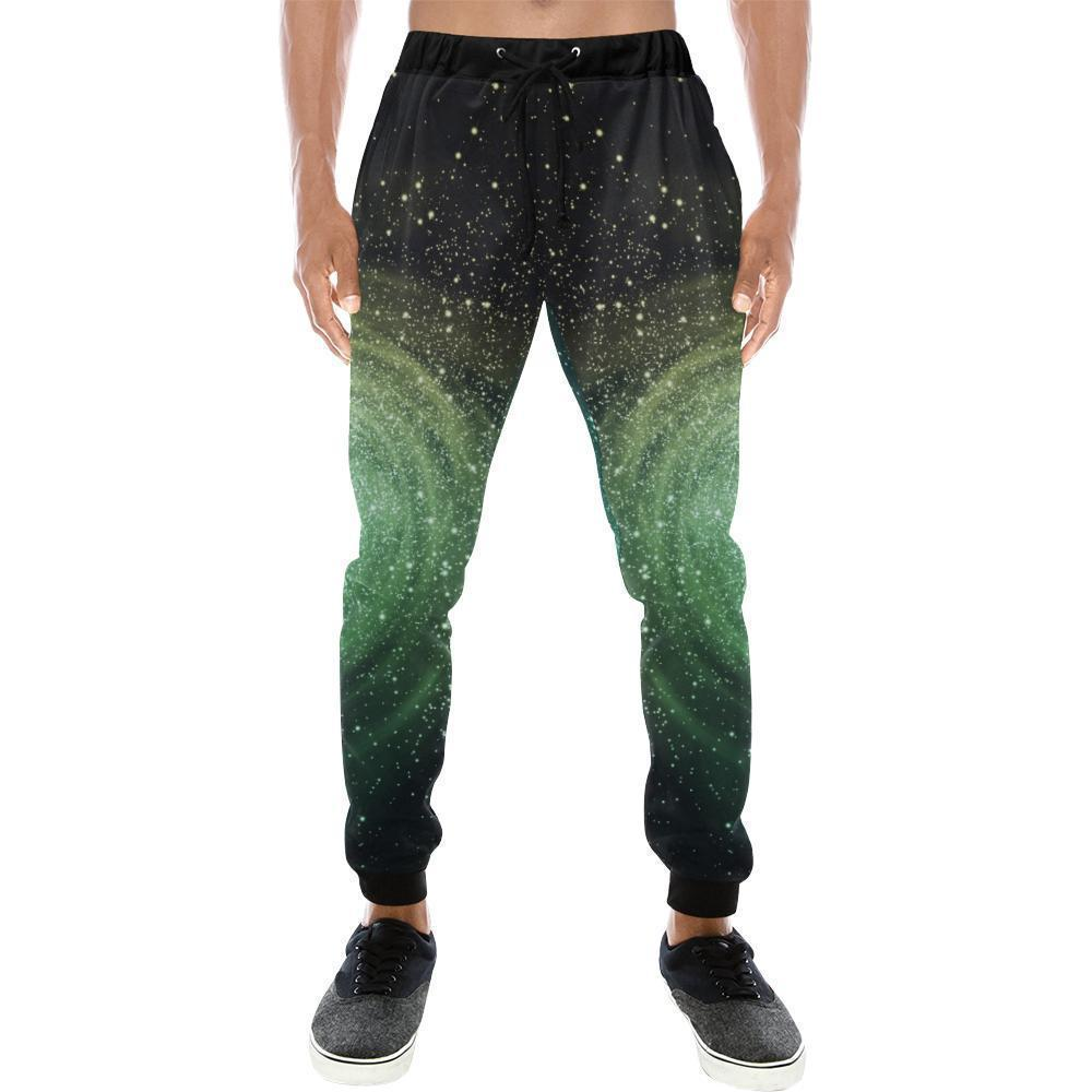 Bright Green Spiral Galaxy Space Print Men's Sweatpants GearFrost