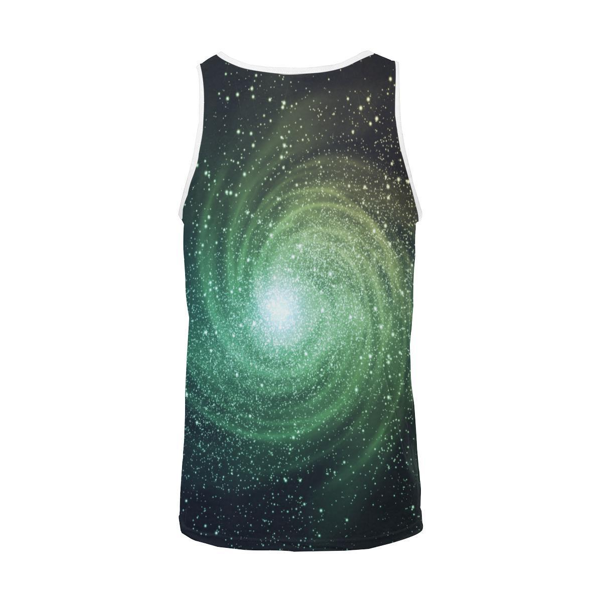 Bright Green Spiral Galaxy Space Print Men's Tank Top GearFrost