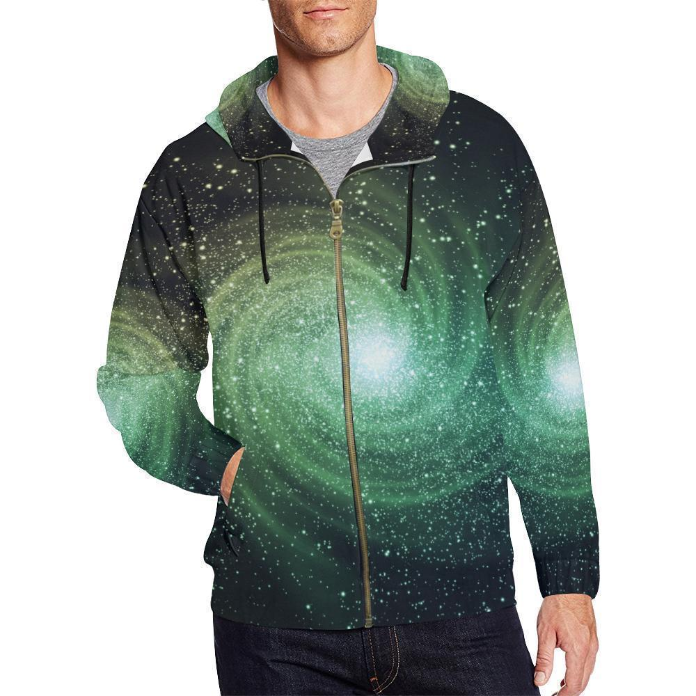 Bright Green Spiral Galaxy Space Print Men's Zip Up Hoodie GearFrost