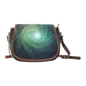 Bright Green Spiral Galaxy Space Print Saddle Bag Crossbody Purse GearFrost