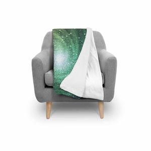 Bright Green Spiral Galaxy Space Print Sherpa Blanket GearFrost
