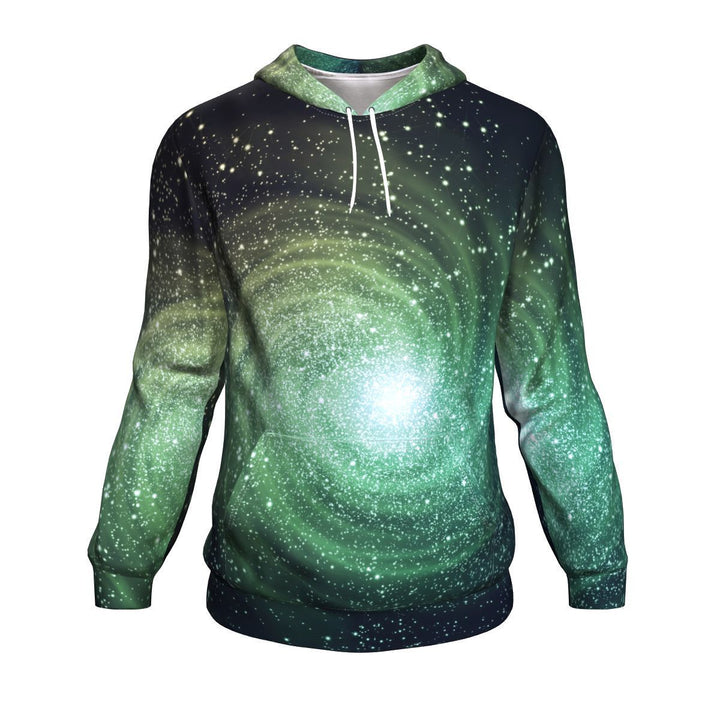 Bright Green Spiral Galaxy Space Print Unisex Pullover Hoodie GearFrost
