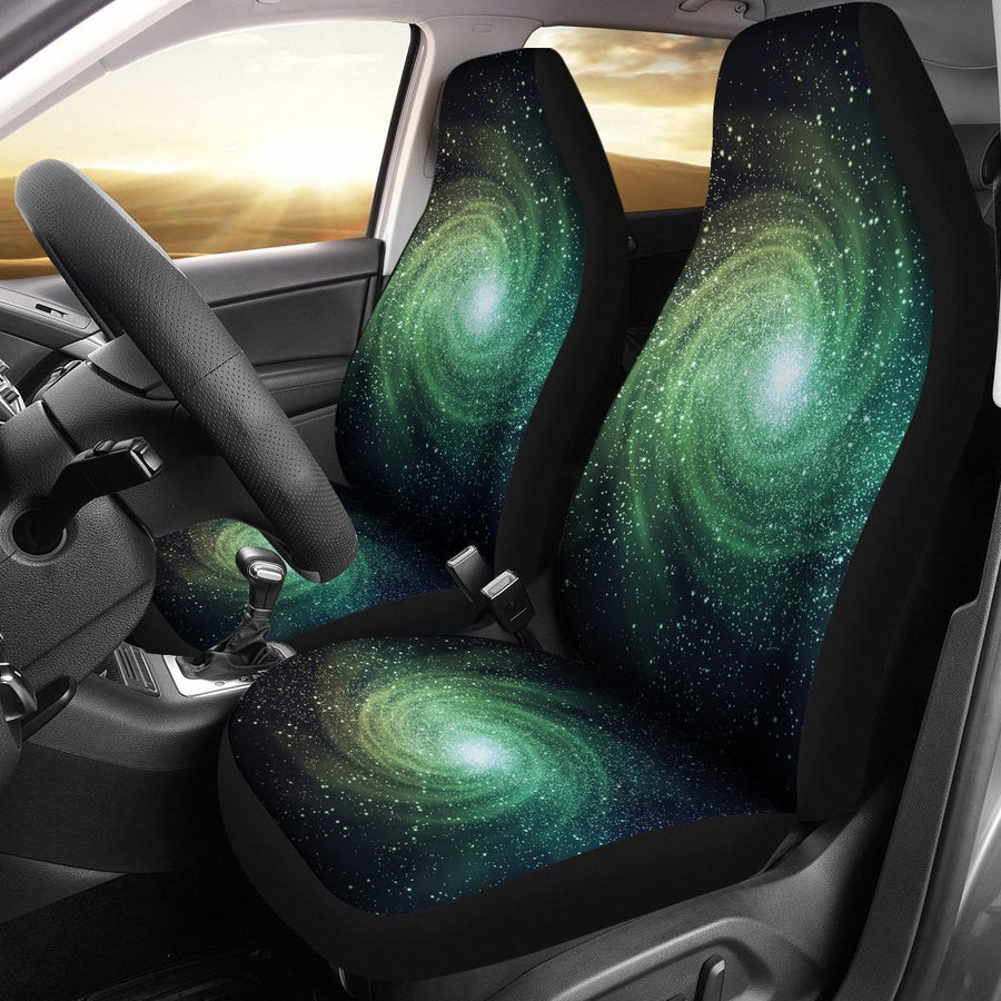 Bright Green Spiral Galaxy Space Print Universal Fit Car Seat Covers GearFrost
