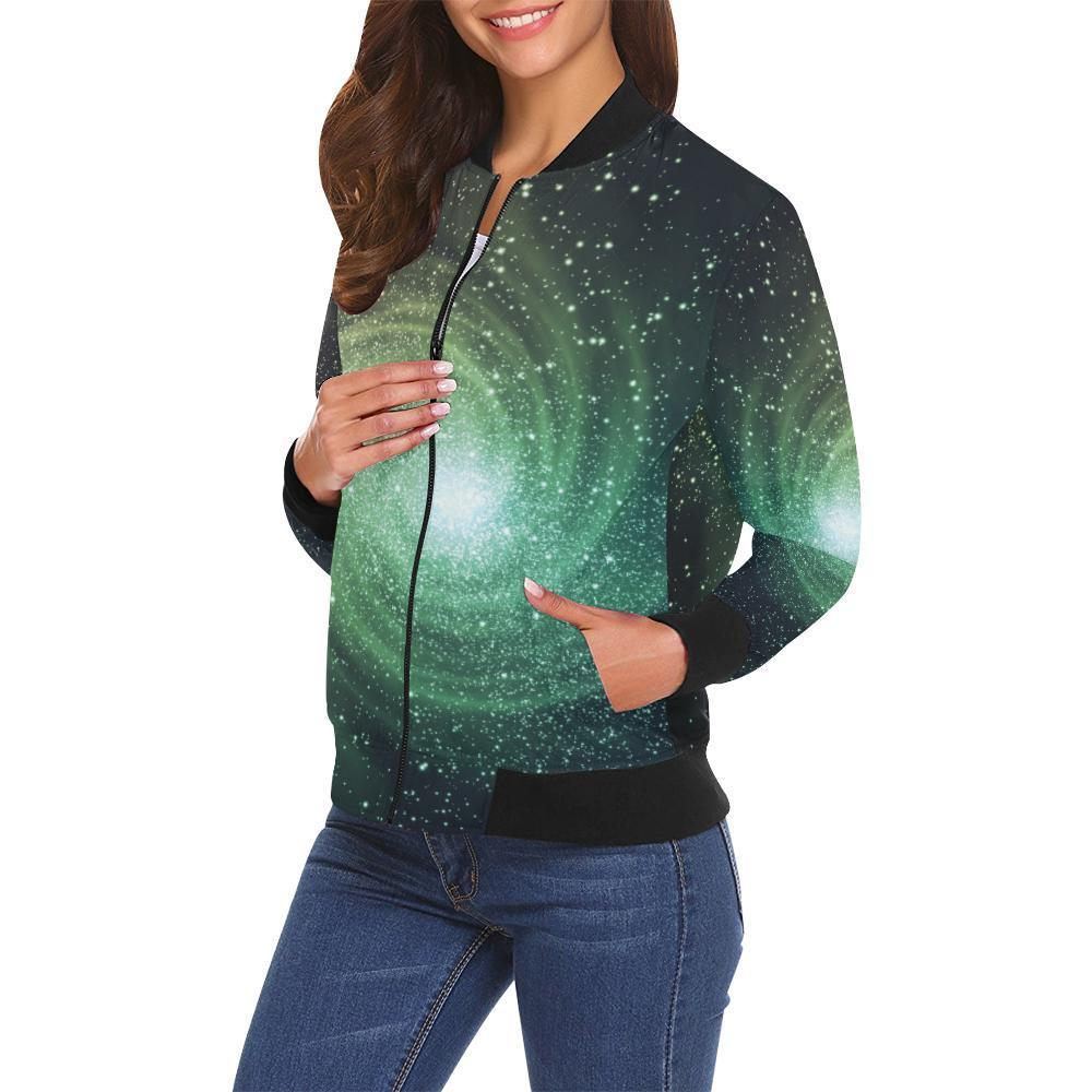 Bright Green Spiral Galaxy Space Print Women's Bomber Jacket GearFrost