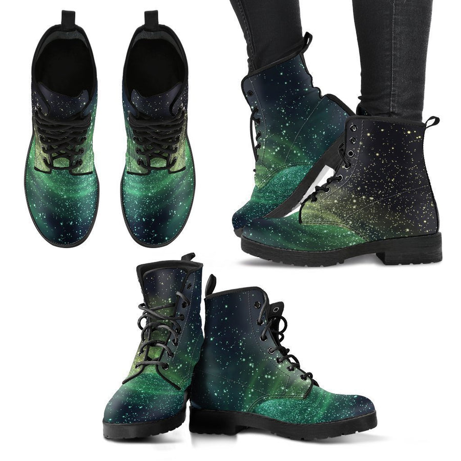 Bright Green Spiral Galaxy Space Print Women's Boots GearFrost