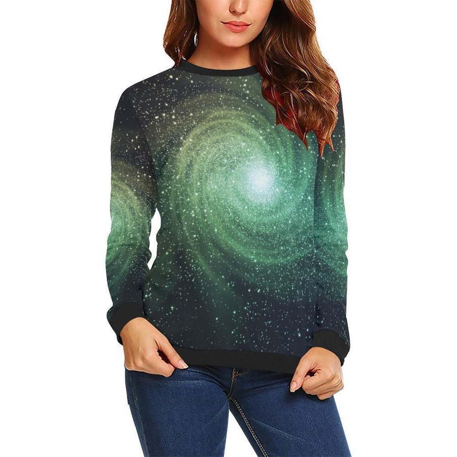 Bright Green Spiral Galaxy Space Print Women's Crewneck Sweatshirt GearFrost