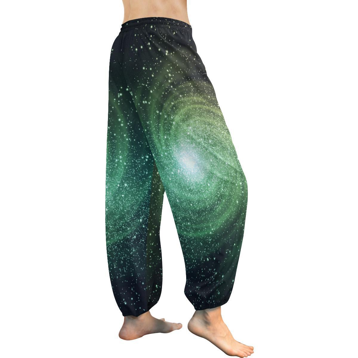 Bright Green Spiral Galaxy Space Print Women's Harem Pants GearFrost