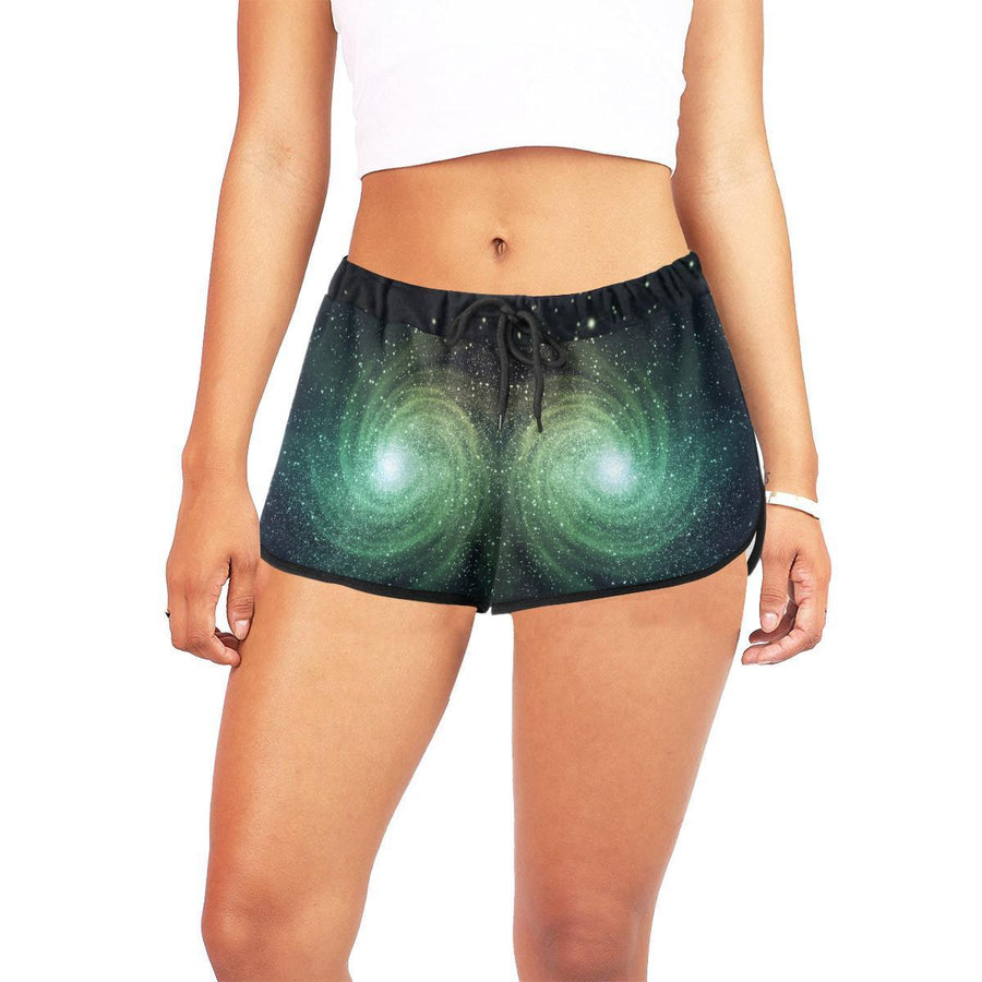 Bright Green Spiral Galaxy Space Print Women's Shorts GearFrost