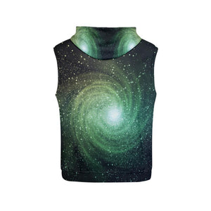 Bright Green Spiral Galaxy Space Print Women's Sleeveless Hoodie GearFrost