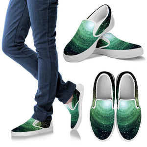 Bright Green Spiral Galaxy Space Print Women's Slip On Shoes GearFrost