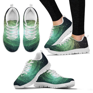 Bright Green Spiral Galaxy Space Print Women's Sneakers GearFrost