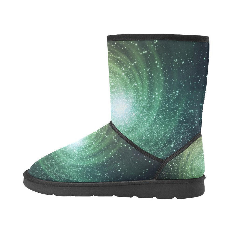 Bright Green Spiral Galaxy Space Print Women's Snow Boots GearFrost