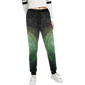 Bright Green Spiral Galaxy Space Print Women's Sweatpants GearFrost