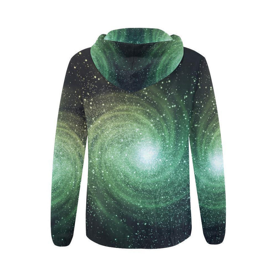 Bright Green Spiral Galaxy Space Print Women's Zip Up Hoodie GearFrost