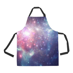 Bright Red Blue Stars Galaxy Space Print Bib Apron With Pockets GearFrost