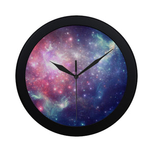 Bright Red Blue Stars Galaxy Space Print Black Wall Clock GearFrost